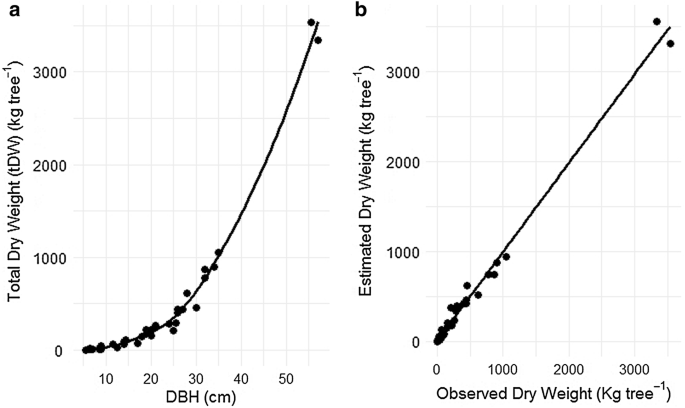 Biomass allometric equation and expansion factor for a mountain