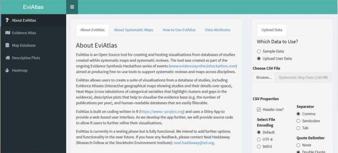 EviAtlas : a tool for visualising evidence synthesis