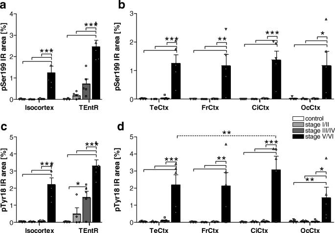 Phosphorylation of different tau sites during progression of