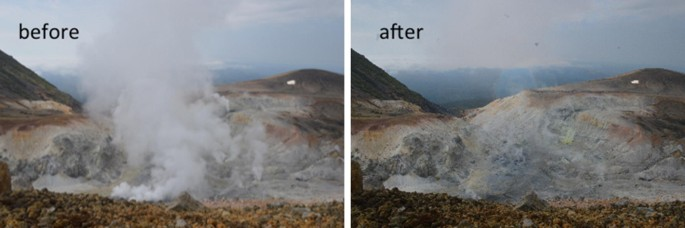 Volcanic smoke reduction in visible and thermal infrared imagery