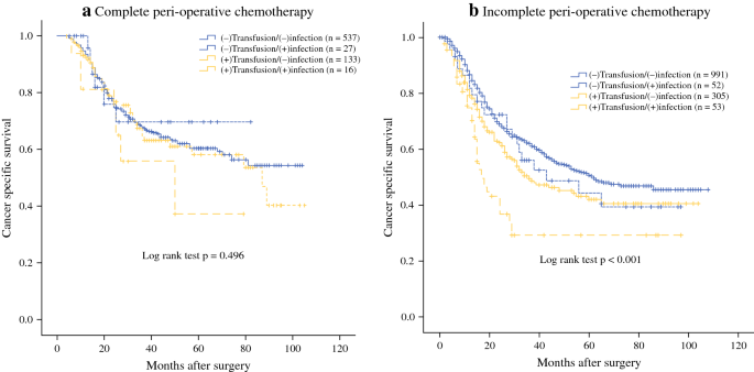 Association Among Blood Transfusion Postoperative Infectious Complications And Cancer Specific Survival In Patients With Stage Ii Iii Gastric Cancer After Radical Gastrectomy Emphasizing Benefit From Adjuvant Chemotherapy Springerlink
