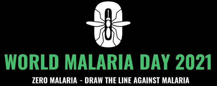 World Malaria Day 2021 logo from Roll Back Malaria via BioMed Central