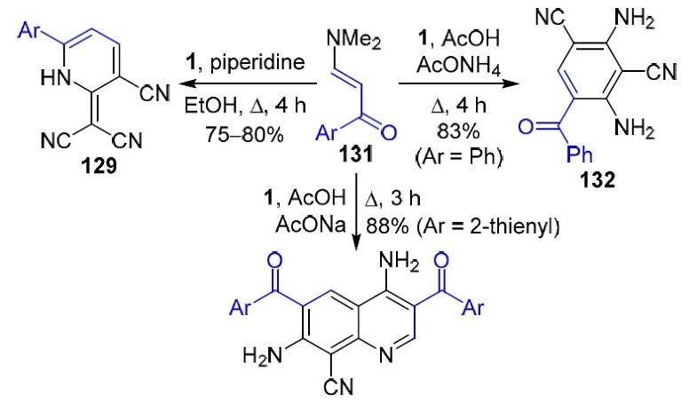 Heterocyclization reactions using malononitrile dimer (2