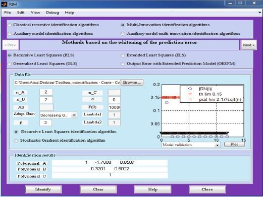 RIM: A Matlab software tool for recursive identification