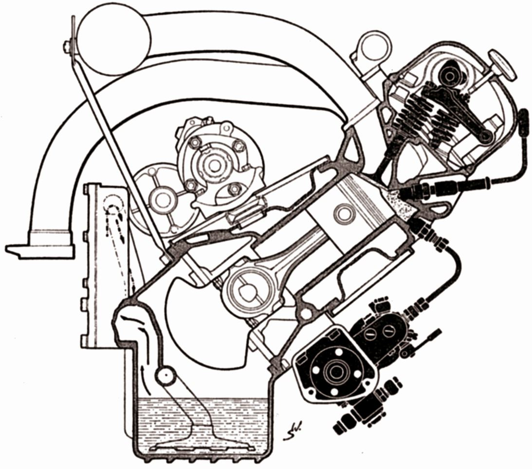 One Hundred Years Of Gasoline Direct Injection Part 2 Springerlink Injected Engine Diagram Figure 4 Cross Section For The Daimler Benz 300 Sl With 3