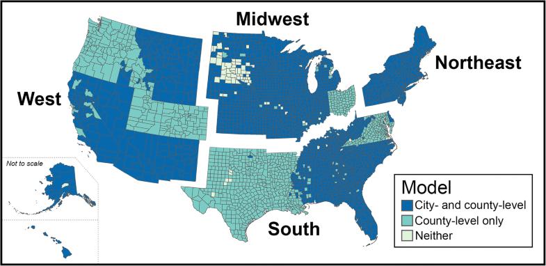 Cobertura dos estados e regiões incluídos em nossas análises estatísticas. Algumas partes do país não foram incluídas em nossa análise porque elas não tinham um sistema de água comunitário registrado ou porque não éramos capazes de coletar dados de nitrato para essa área.