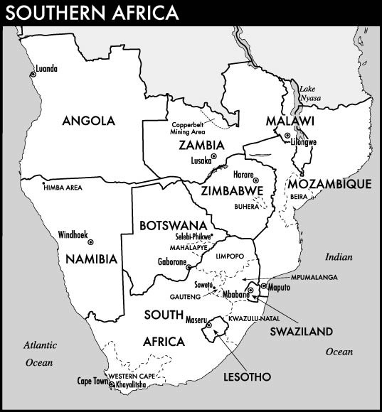 Southern Africa South Africa Botswana Lesotho Malawi Mozambique