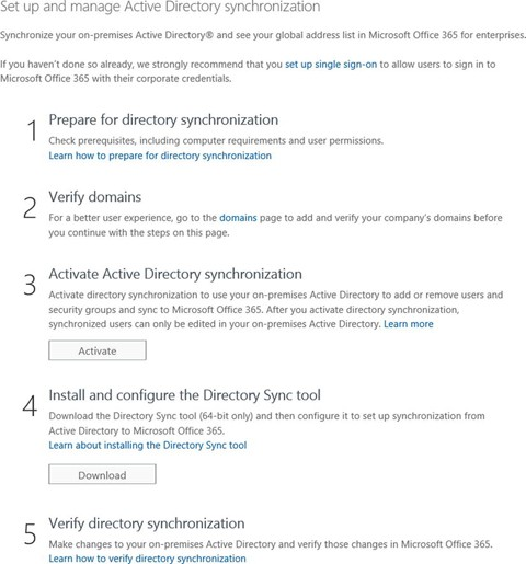 Office 365 DirSync, ADFS, Single Sign On and Exchange