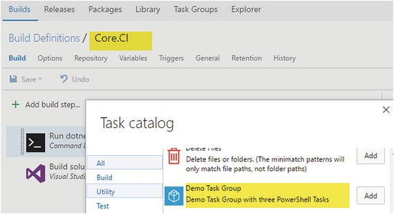Task Groups, Folders, and Build/Release Definition History
