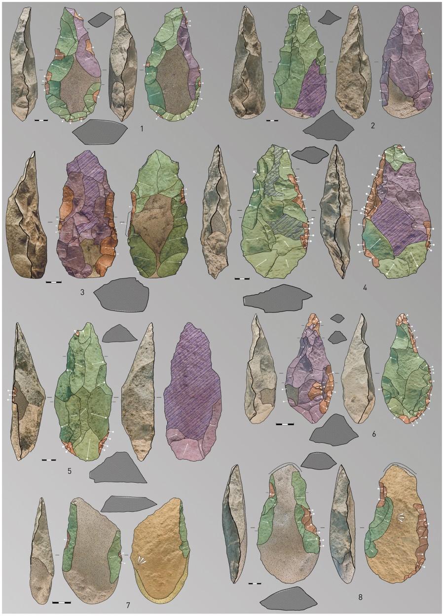 Ejemplos de herramientas recuperadas del nivel PM4 en Porto Maior, 1–4: hachas de mano, 5–6: picos triédricos and 7–8: hendedores (cada barra de escala representa 3cm). Dibujos y fotos: E. Méndez-Quintas.