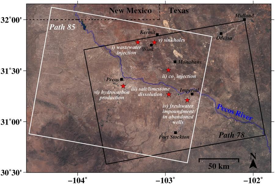 Imágenes de radar revelan movimiento de tierra principal y hundimiento en aceite de parche de Texas