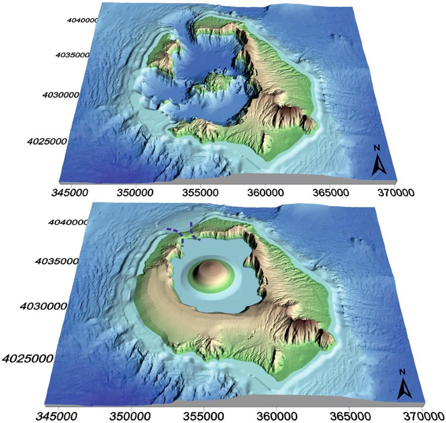 Santorini mai és rekonstruált kitörés előtti formája a belső szigettel.
