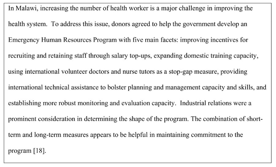 Incentives for retaining and motivating health workers in
