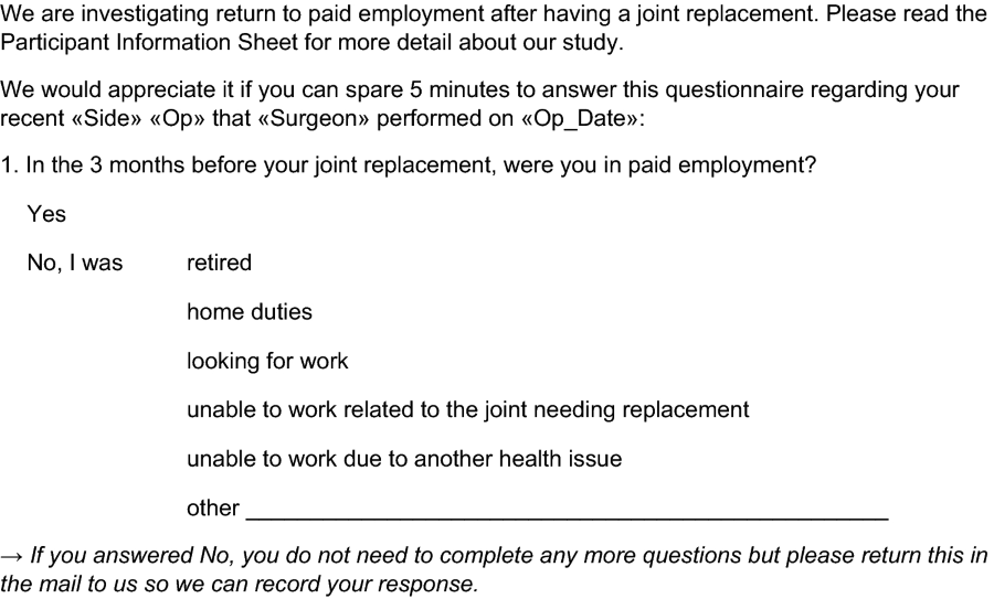 Factors influencing return to work after hip and knee