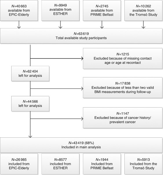 Comparison Of General Obesity And Measures Of Body Fat Distribution In Older Adults In Relation To Cancer Risk Meta Analysis Of Individual Participant Data Of Seven Prospective Cohorts In Europe British Journal