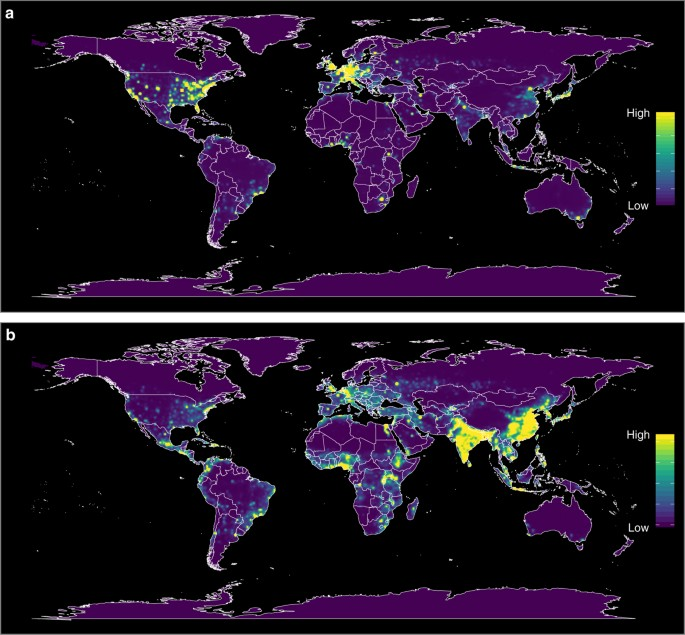 heat maps of predicted relative risk distribution of zoonotic eid events a shows the predicted distribution of new events being observed weighted model