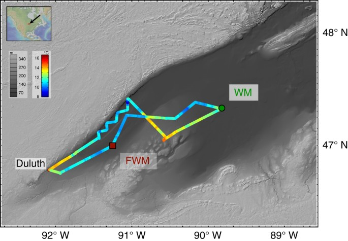 Dissolved and particulate samples were collected at FWM (46°59′54.7″ N, 91°14′46.5″  W; 144 m water depth; 26 August 2015) and ...