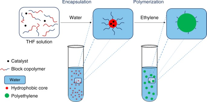 Encapsulation of catalyst in block copolymer micelles for the