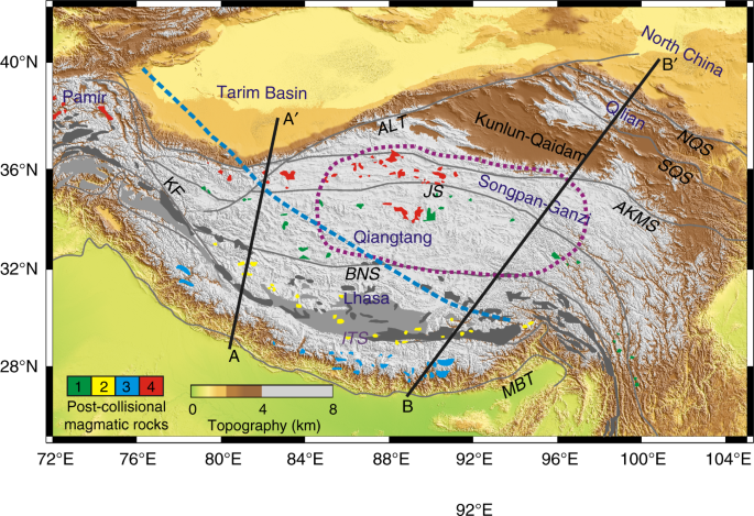 4853764bbaed Tectonic framework of the Tibetan plateau. Four main suites of  post-collisional magmatic rocks are shown with different color  1 (green)    Eocene to ...