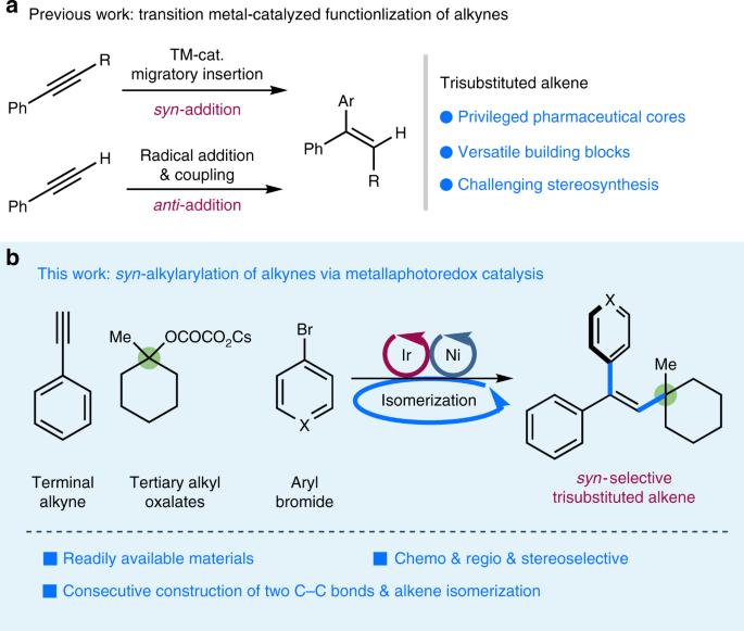 syn -Selective alkylarylation of terminal alkynes via the