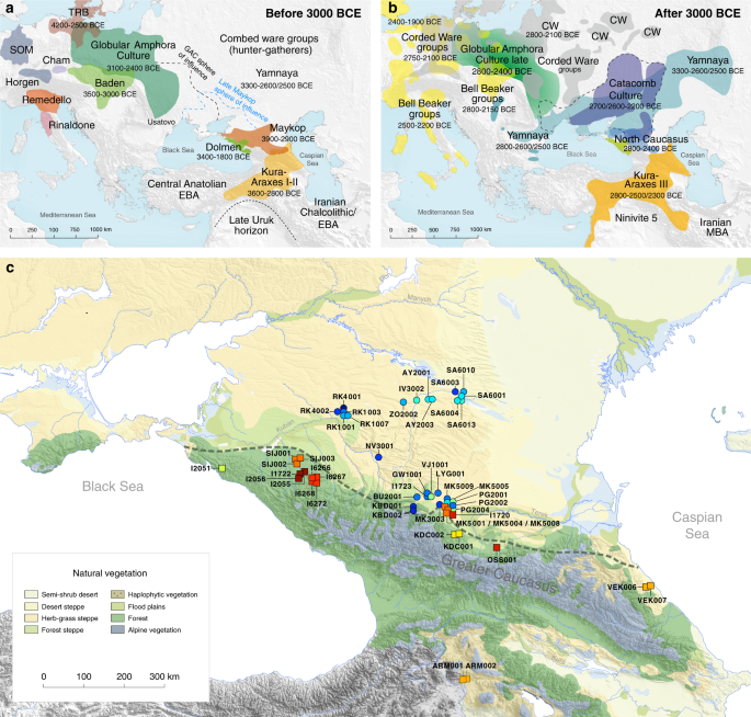 Ancient human genome-wide data from a 3000-year interval in the Caucasus corresponds with eco-geographic regions