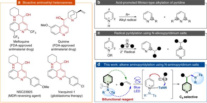 Visible light induced alkene aminopyridylation using N