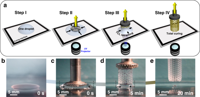 Continuous 3D printing from one single droplet