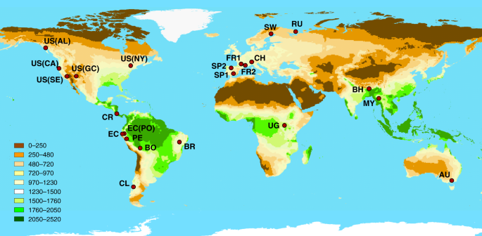 Climate reverses directionality in the richness–abundance relationship across the World's main forest biomes