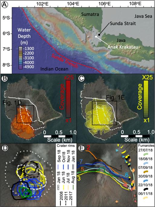 Submarine landslide megablocks show half of Anak Krakatau island failed on December 22nd, 2018