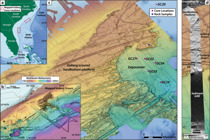Timing of iceberg scours and massive ice-rafting events in the subtropical North Atlantic