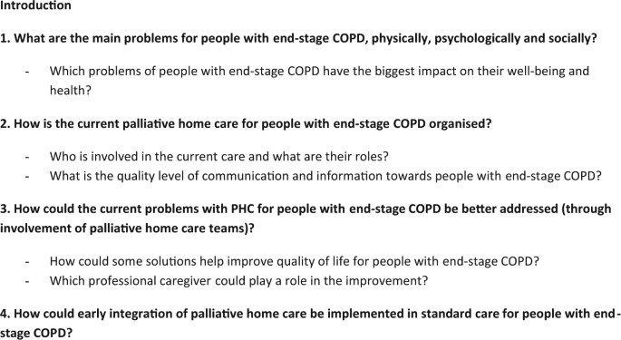 "A palliative end-stage COPD patient does not exist"": a"
