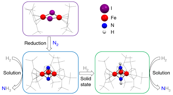 NH3 formation from N2 and H2 mediated by molecular tri-iron complexes