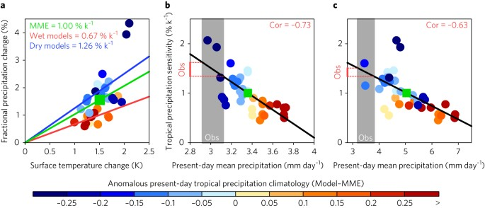 Inverse relationship between present-day tropical