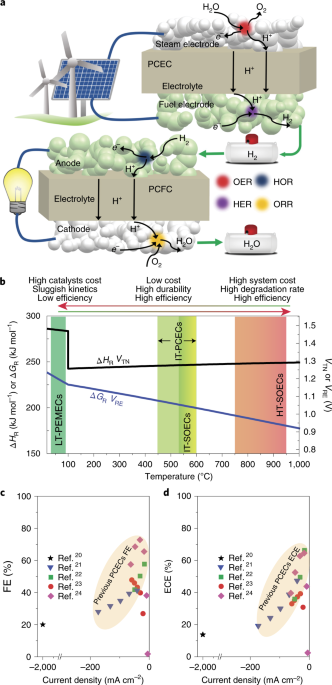 Highly efficient reversible protonic ceramic electrochemical cells