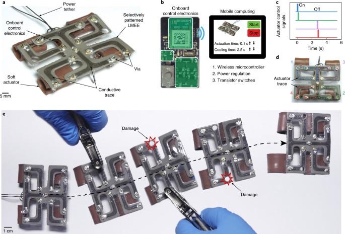An Autonomously Electrically Self Healing Liquid Metal Elastomer