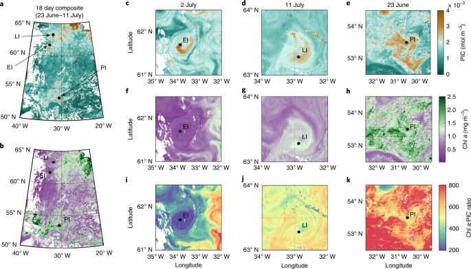 A,b, Location And Overview Of PIC (a) And Chl A (b) At Water Masses Sampled  In The North Atlantic. EI Populations Were Occupied From 30 June To 5 July  And ...
