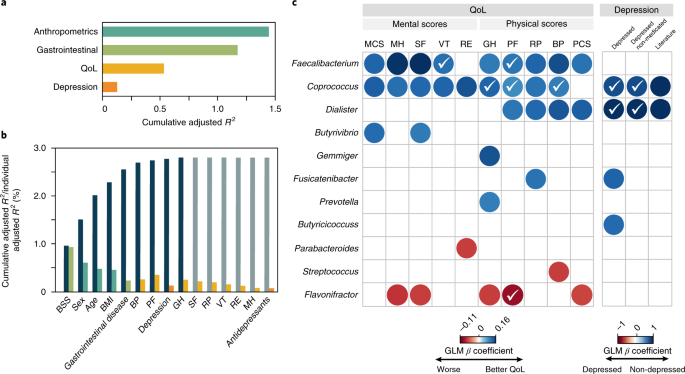 The neuroactive potential of the human gut microbiota in quality of life and depression