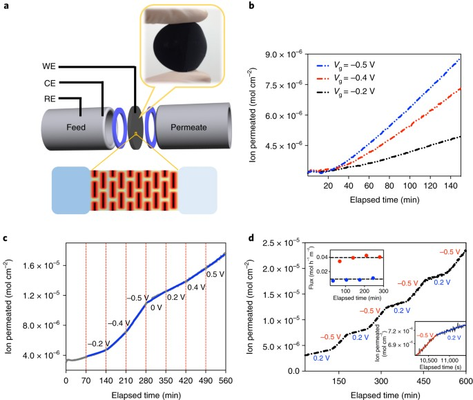 Low-voltage electrostatic modulation of ion diffusion through ...