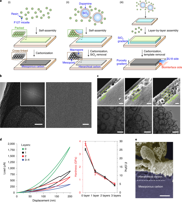 Micelle-enabled self-assembly of porous and monolithic carbon membranes for bioelectronic interfaces