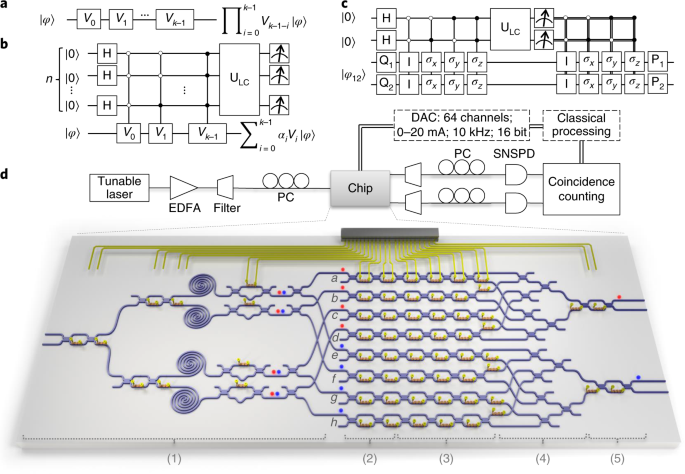 a, conventional quantum circuit model of qip, which is a multiplication of  quantum logic gates in series  b, probabilistic linear combination of  quantum