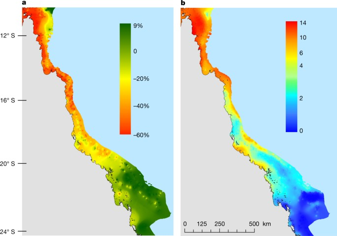 a change in coral cover between march and november 2016 b heat exposure measured in dhw in 0c weeks in the summer of 2016 map template is provided by