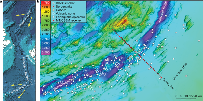 Deep electrical imaging of the ultraslow-spreading Mohns Ridge