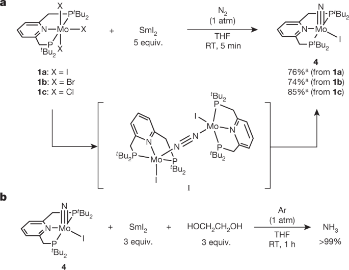 Molybdenum-catalysed ammonia production with samarium diiodide and