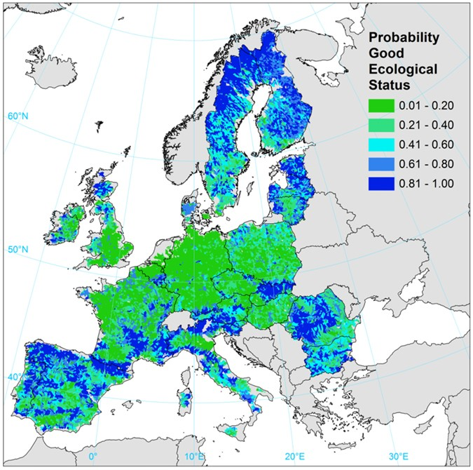 Major Rivers In Europe Map.Human Pressures And Ecological Status Of European Rivers