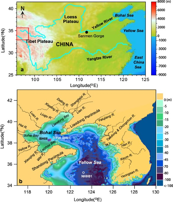Map Of China Yellow River.Persistent Effects Of The Yellow River On The Chinese Marginal Seas