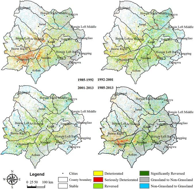 Historical Grassland Desertification Changes In The Horqin Sandy - Desertification Us Soil Erosion Map Us