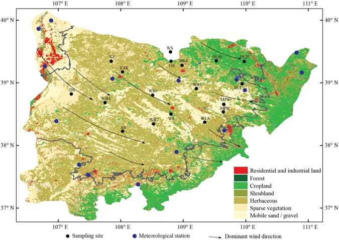 Mu Us Desert Map Key driving forces of desertification in the Mu Us Desert, China