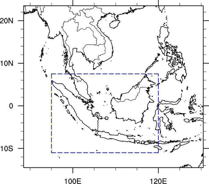 southeast asia domain used in this study the dashed boundary denotes the maritime continent region the map was generated using the ncar command language