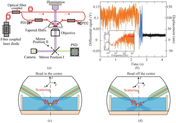 Objective Lens Free Fiber Based Position Detection With Nanometer Resolution In A Fiber Optical Trapping System Scientific Reports