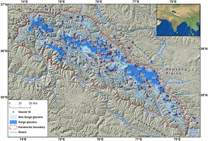 Surge-type and surge-modified glaciers in the Karakoram | Scientific ...